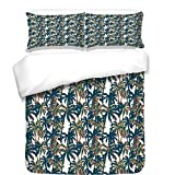 iPrint Duvet Cover Set,Palm Leaf,Vintage Pattern with Trees Colorful Design Elements Exotic Dreamy Hawaii Decorative,White Black Red,Best Bedding Gifts for Family Or Friends
