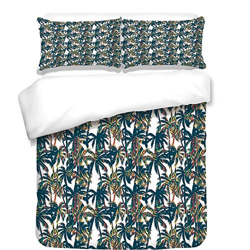 iPrint Duvet Cover Set,Palm Leaf,Vintage Pattern with Trees Colorful Design Elements Exotic Dreamy Hawaii Decorative,White Black Red,Best Bedding Gifts for Family Or Friends by iPrint