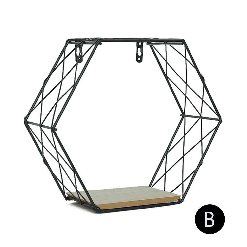 Estante De La Pared Combinaci/ón Hierro Hexagonal Rejillas Estanter/ía Decoraci/ón De Pared Figura Geom/étrica para Sala De Estar Dormitorio