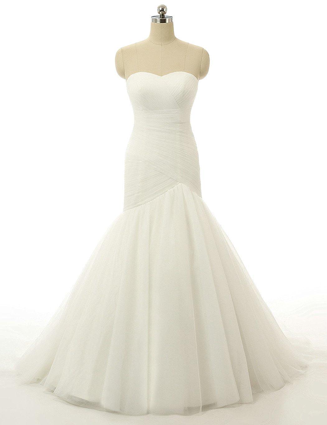 RohmBridal Womens Chapel Train Trumpet Wedding Dress Bridal Gown