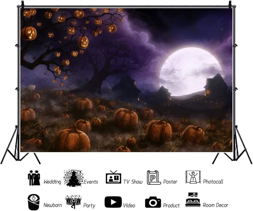Yeele Halloween Photography Background 10x8ft Enchanted Pumpkin Field Halloween Party Photo Backdrops Kids Party Decoration Pictures Adult Artistic Portrait Photoshoot Props