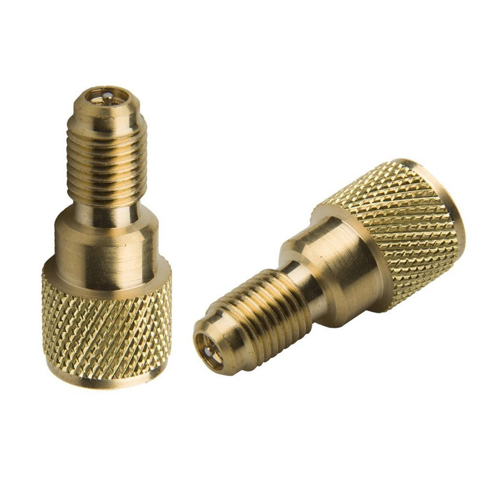 Bang4buck 4 Pieces R134a Brass Refrigerant Tank Adapter Connects R12 Hose To R134A Refrigerant Tank Charging Hose to Vacuum Pump