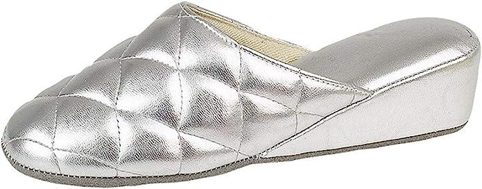 UK 1930s Dresses, Shoes, Clothing in the UK Dunlop Ladies Wedge Heel Mule Slippers Silver or Gold £21.03 AT vintagedancer.com