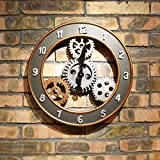 ASIBG Home European-style wall clock retro wall gear clock wall clock antique gear make old fashion wooden living room clock 14 inch,14 inch