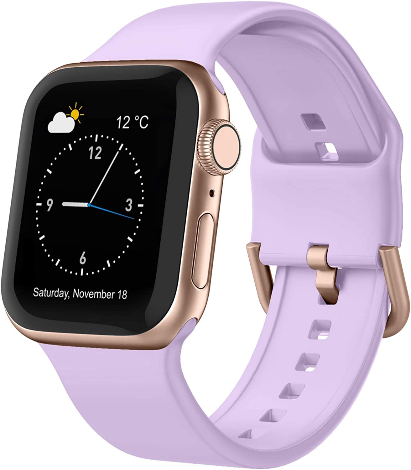 Adepoy Compatible with Apple Watch Bands 44mm 42mm 40mm 38mm, Soft Silicone Sport Wristbands Replacement Strap with Classic Clasp for iWatch Series SE 6 5 4 3 2 1 for Women Men, Lavender 38/40mm