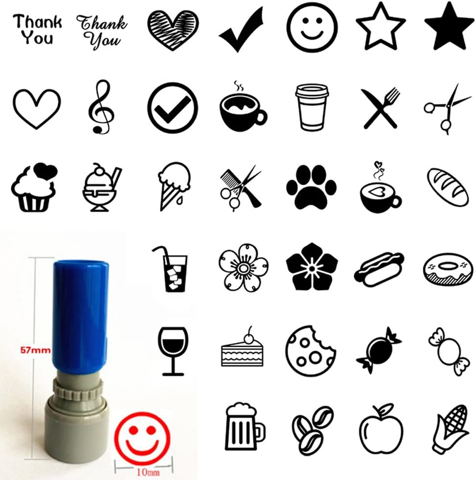 Set of 3 Loyalty Card Stamp You Pick Image Color Self Inking Business Rubber pre Ink Stamp 3/8
