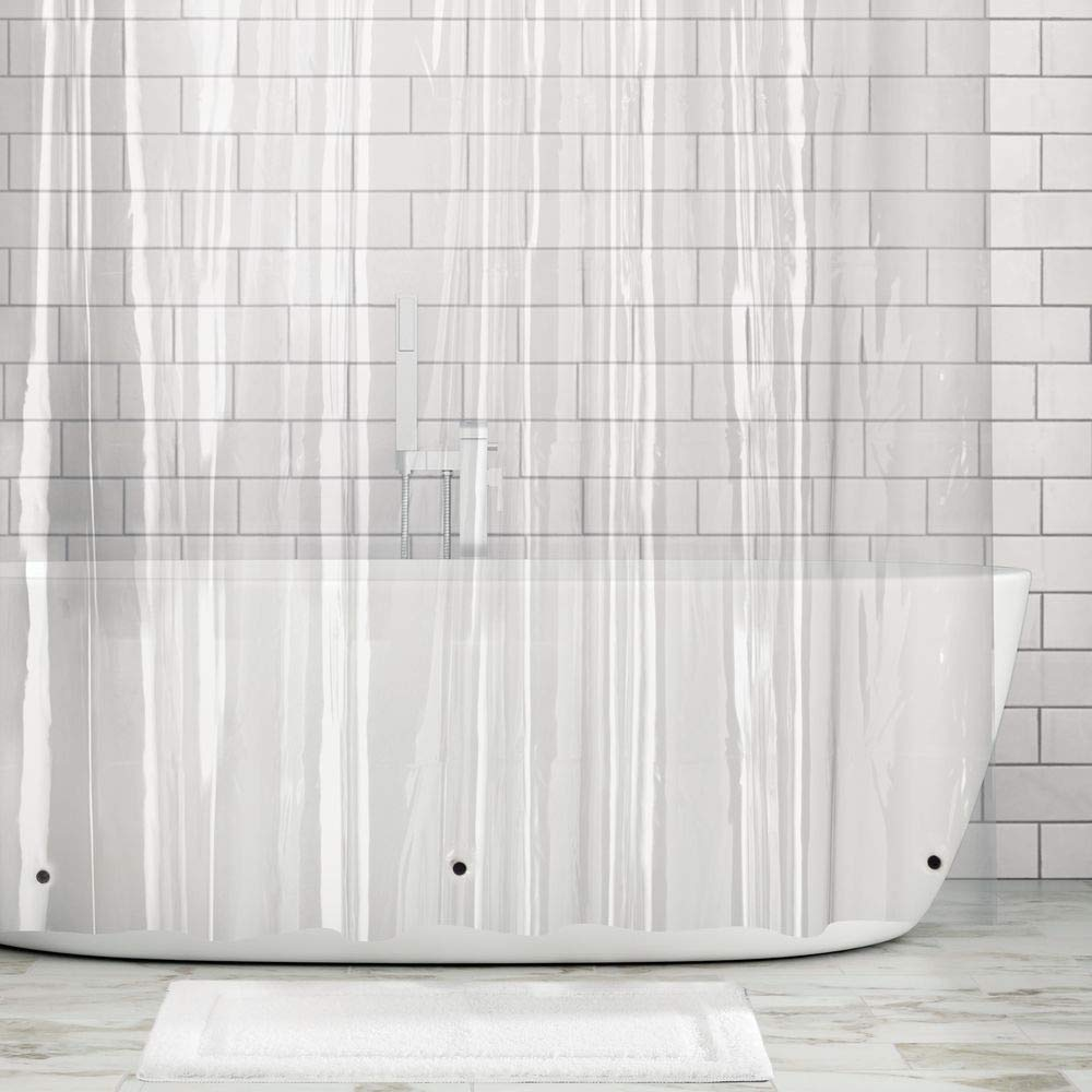 mDesign Waterproof, Heavy Duty Premium Quality 10-Guage Vinyl Shower Curtain Liner for Bathroom Shower and Bathtub - 72'' x 72'' - Clear