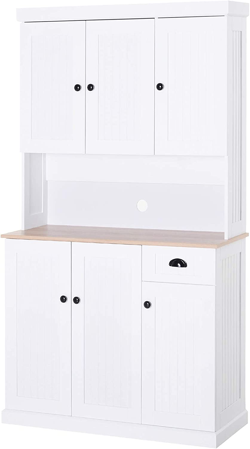 """HOMCOM 71"""" Wood Kitchen Pantry Storage Cabinet Microwave Oven Stand with Storage - White/Oak Grain"""