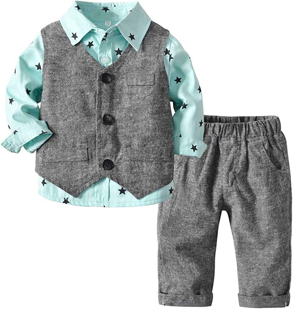 Top and Top Baby Boy Easter Clothes Toddler Outfit 3PCS Printed Shirt + Vest + Pants Set Formal Suit