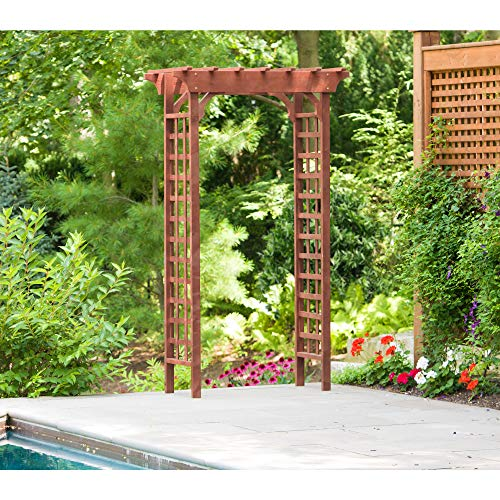 Leisure Season Lattice Trellis Arbor, Cypress Wood Treated with Protective Coating