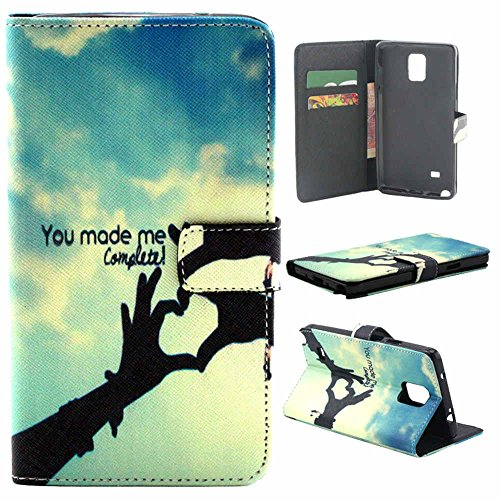 S-Coach Samsung Galaxy Note 4 leather Case <Hand LOVE> Pattern Fashion Printing Wallet Cards Slots Flip Magnet Stand Leather Carry Case with Screen Protector and Cleaning Cloth