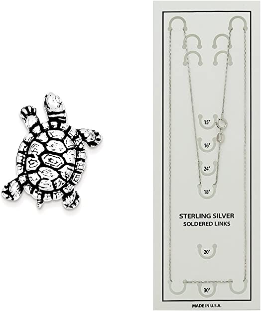 18 Mireval Sterling Silver Antiqued Turtle Charm on a Sterling Silver Carded Box Chain Necklace