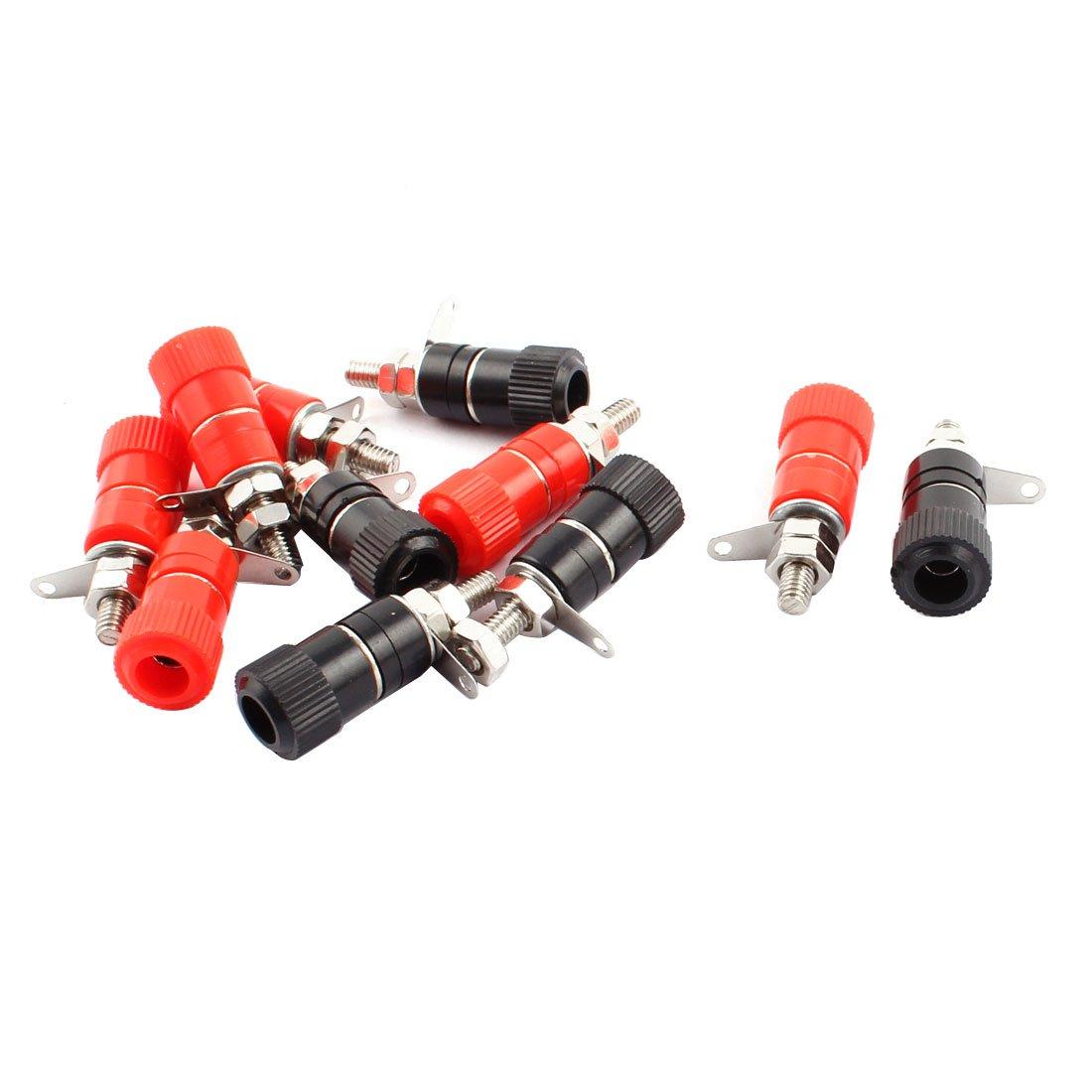 sourcingmap® Conector de borne de 5 pares de rojo y negro Amplificador de audio Altavoz banana de 4 mm a16012800ux1985