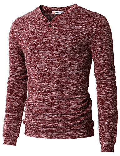 H2H Men#039s Kastripe Long Sleeve Vneck Knit Shirt Sweaters Burgundy US XL/Asia 2XL CMOSWL019