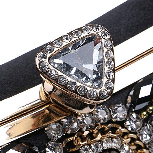 Santimon perline borse borse paillettes nero da ballo sposa Clutch per donna strass da perline rwZrX6