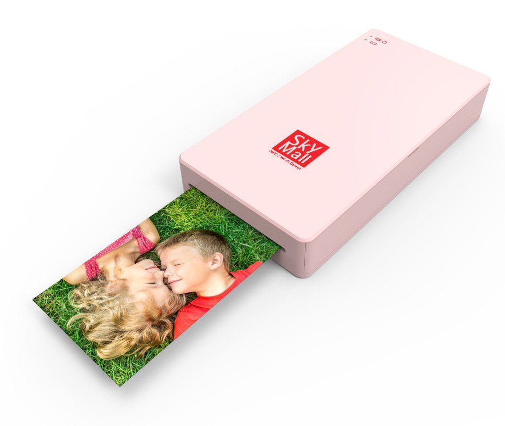 SkyMall Mobile Wi-Fi & NFC Photo Printer with Dye Sublimation Printing Technology & Photo Preservation Overcoat Layer (Pink)