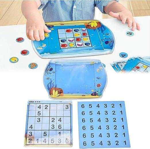 Juego de Mesa Sudoku Numbers Cubes para niños, Juego de Mesa Educativo magnético de Tanque de Peces Sudoku: Amazon.es: Hogar