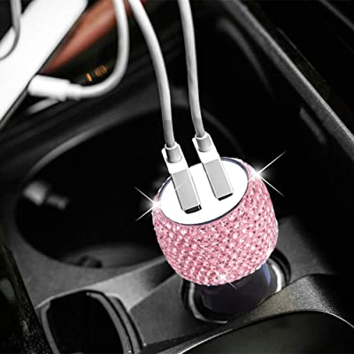 Dual USB Car Charger Bling Bling Handmade Rhinestones Crystal Car Decorations for Fast Charging Car Decors Pink for iPhone, iPad Pro/Air 2/Mini, Samsung Galaxy Note 9 8 S9 S9+,LG, Nexus, HTC, etc