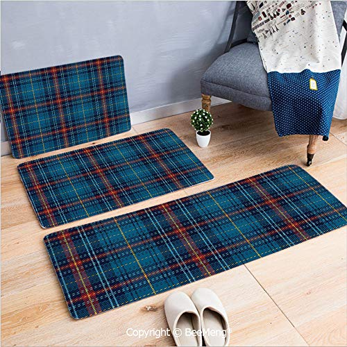 3 Piece Water Uptake Indoor Modern Anti-Skid Cartoon Carpet,Checkered,Cultural Pattern with Thin Lines Irish Traditional Design in Blue Colors,Blue Navy Blue Red,16x24/16x39/18x45 inch