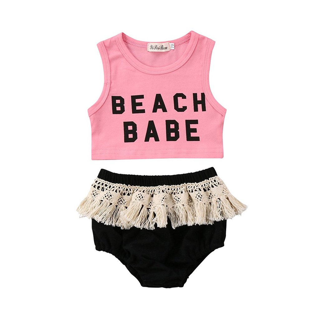 CAIBIET 2Pcs Newborn Toddler Baby Girls Beach Babe Vest Top with Tassel Skirt Sunsuit Playwear Outfits