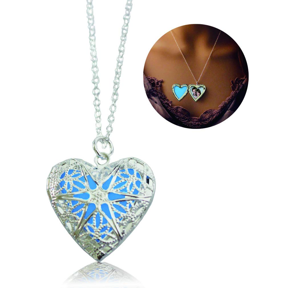 Heart Locket Glowing Necklace Silver Plated Bronze Pendant Jewelry Royal Blue 18 Inches FJSR B01791YE4A_US