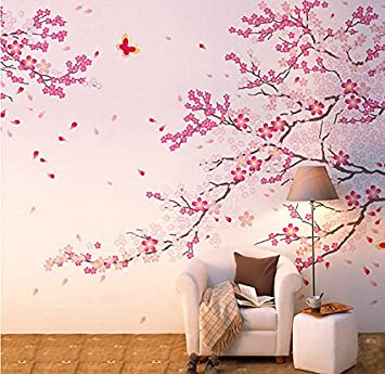 Cukudy Large Size Plum Blossom Cherry Blossom Flowers Tree Wall Decals  Flowers Wall Decal Tree Wall Part 71