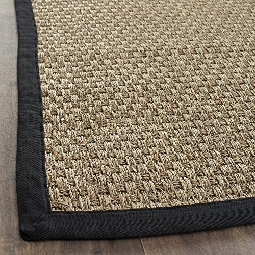 "Safavieh Natural Fiber Collection NF114C Basketweave Natural and  Black Seagrass Runner (2'6"" x 6')"