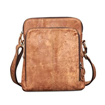 b21d50997b6 Image Unavailable. Image not available for. Color  BAIGIO Leather Crossbody  Messenger Bag Satchel Shoulder ...