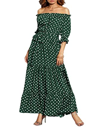 UK 8-26 Womens Holiday Off Shoulder Floral Maxi Ladies Summer Beach Party Dress