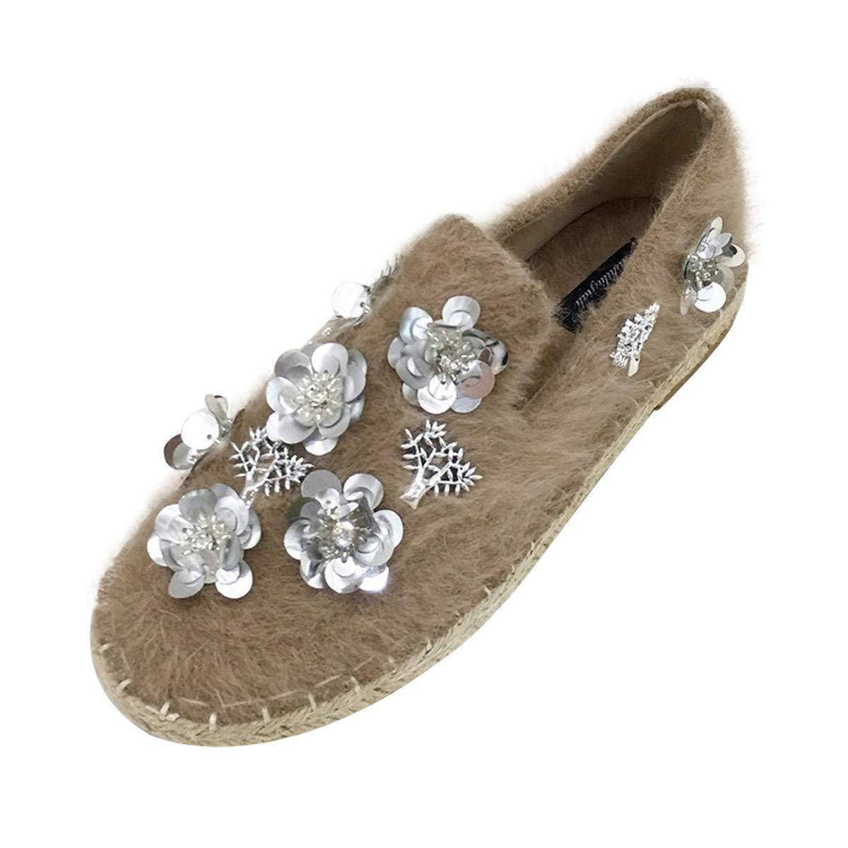 HBDLH Damenschuhe/Flache Sohle Einzelne Schuhe Herbst Frauen Perlen Blumen Wolle Die Schuhe Flanell Pedale Faul Schuhe