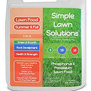 Ultimate 3-18-18 NPK- Lawn Food Natural Liquid Fertilizer- Concentrated Spray- Any Grass Type- Summer & Fall Nutrients- Simple Lawn Solutions, 32-Ounce- Green, Grow, Root Growth, Health & Strength
