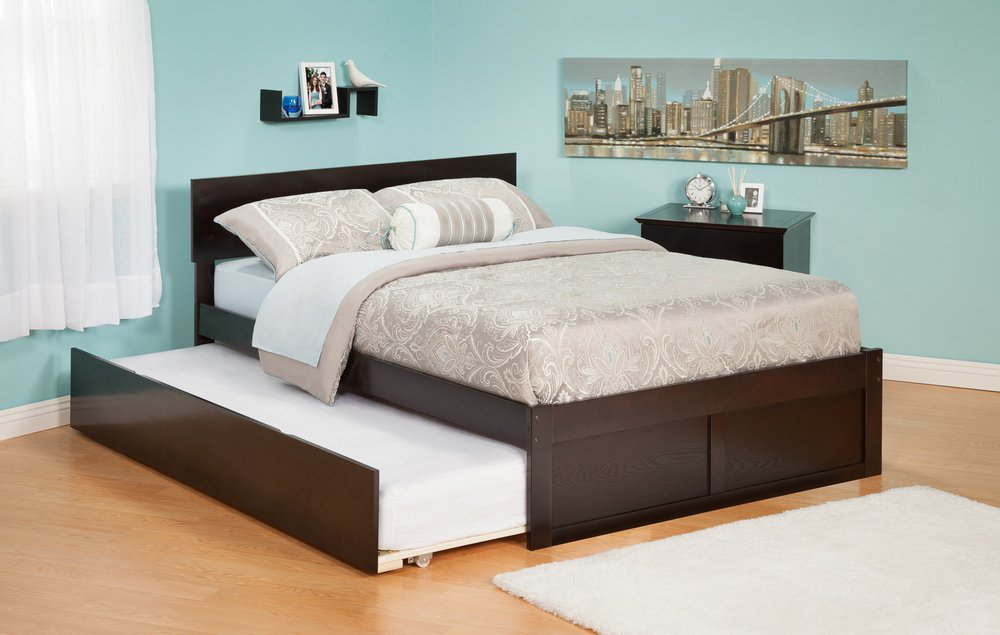 Amazon.com: Atlantic Furniture Orlando Platform Bed with Flat Panel  Footboard and Trundle Set in Espresso - Twin: Kitchen & Dining
