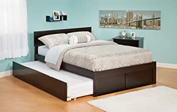 Atlantic Furniture Orlando Platform Bed With Flat Panel Footboard And  Trundle Set In Espresso   Twin