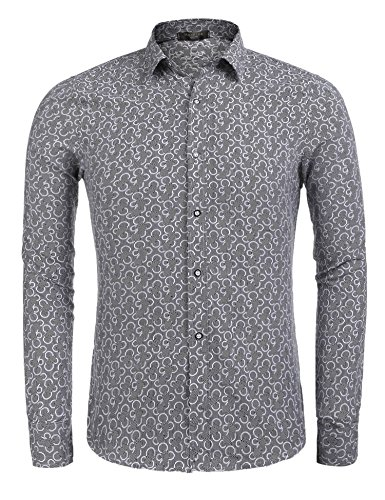 5d8bf599 Modfine Men's Fashion Floral Print Button Down Casual Long Sleeve Hawaiian  Retro Flower Shirt