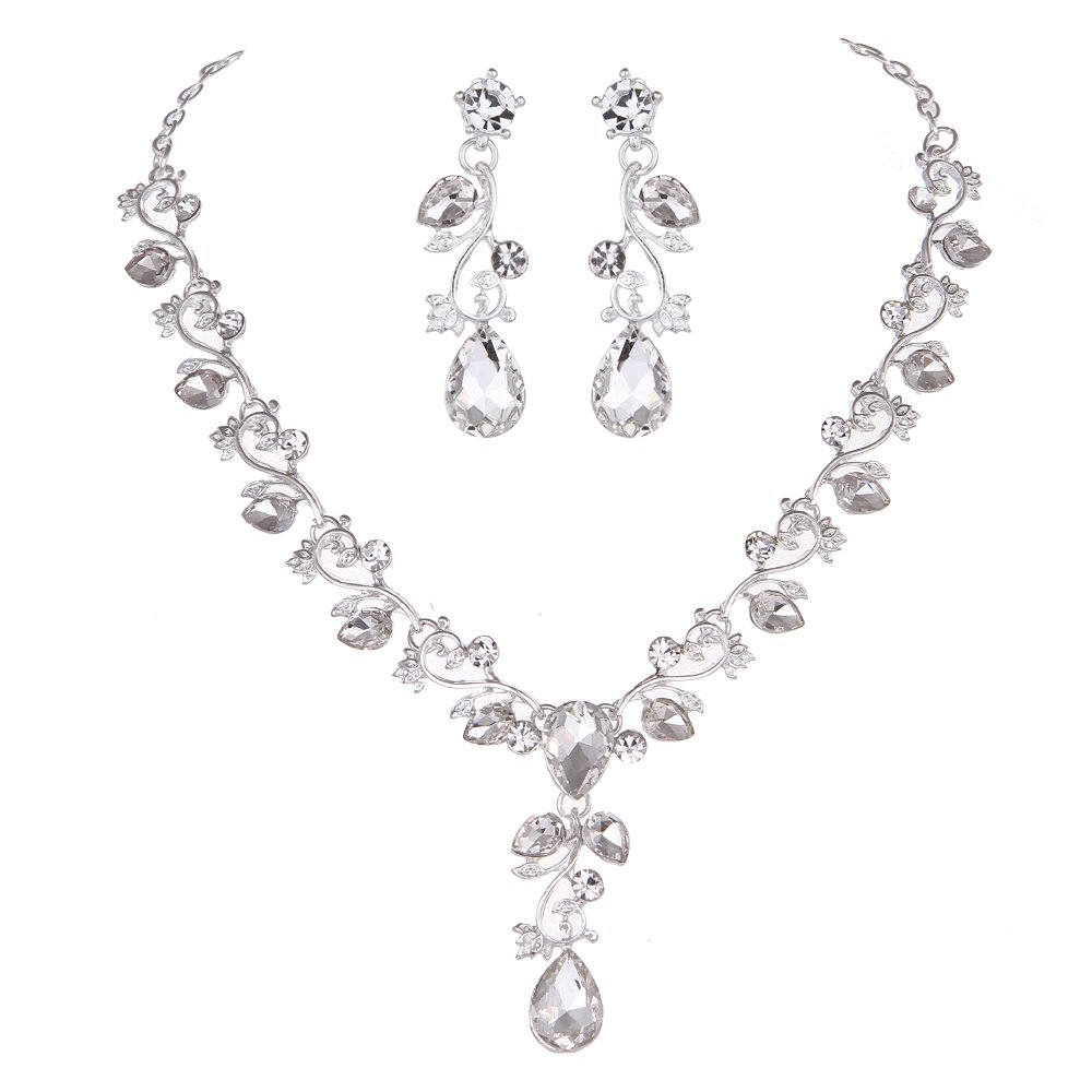 Youfir Leaf Vine Crystal Necklace Earrings Jewelry Set for Bridesmaids V-Neck Formal Evening Dress(Clear)