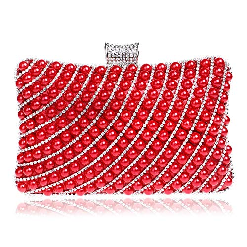 Dinner Red Womens Color Handbag Diagonal Prom Pearl Hand Clutch Ladies Shoulder Shoulder Bridal Purse Wedding Clutch Bag Party Package Evening Red Bag xXfrXqpw1