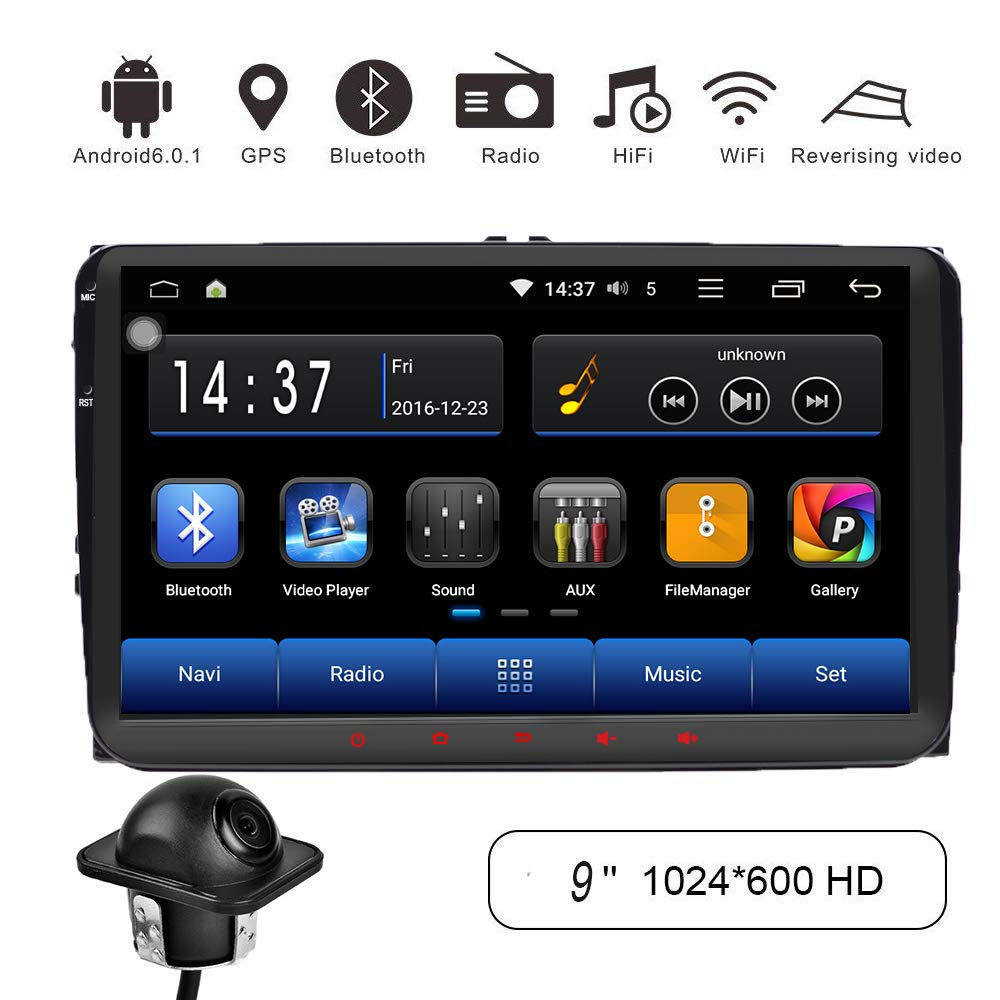 Amazon.com: in Dash Car Stereo 9 Inch Android 6.0 Car Stereo Bluetooth GPS Navigation for Volkswagen VW Passat CC B7 2008-2013 Headunit Car Radio 1GB 16GB ...
