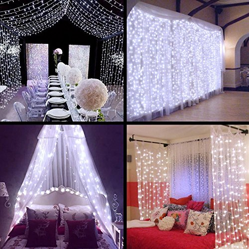 Ollny 300 LEDs Curtain Window Icicle Lights Fairy String Lights 9.8ft x 9.8ft 8 modes for Wedding Christmas Home Outdoor (Backyard Decorations)