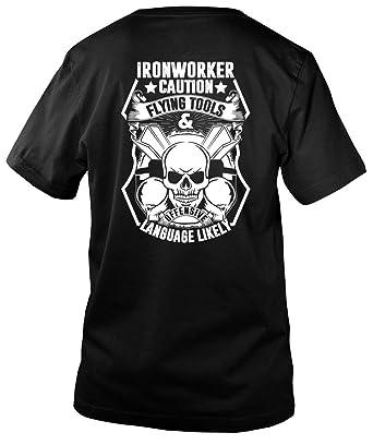 Amazon com: Ironworker Caution Flying Tools Men's V-Neck Tee