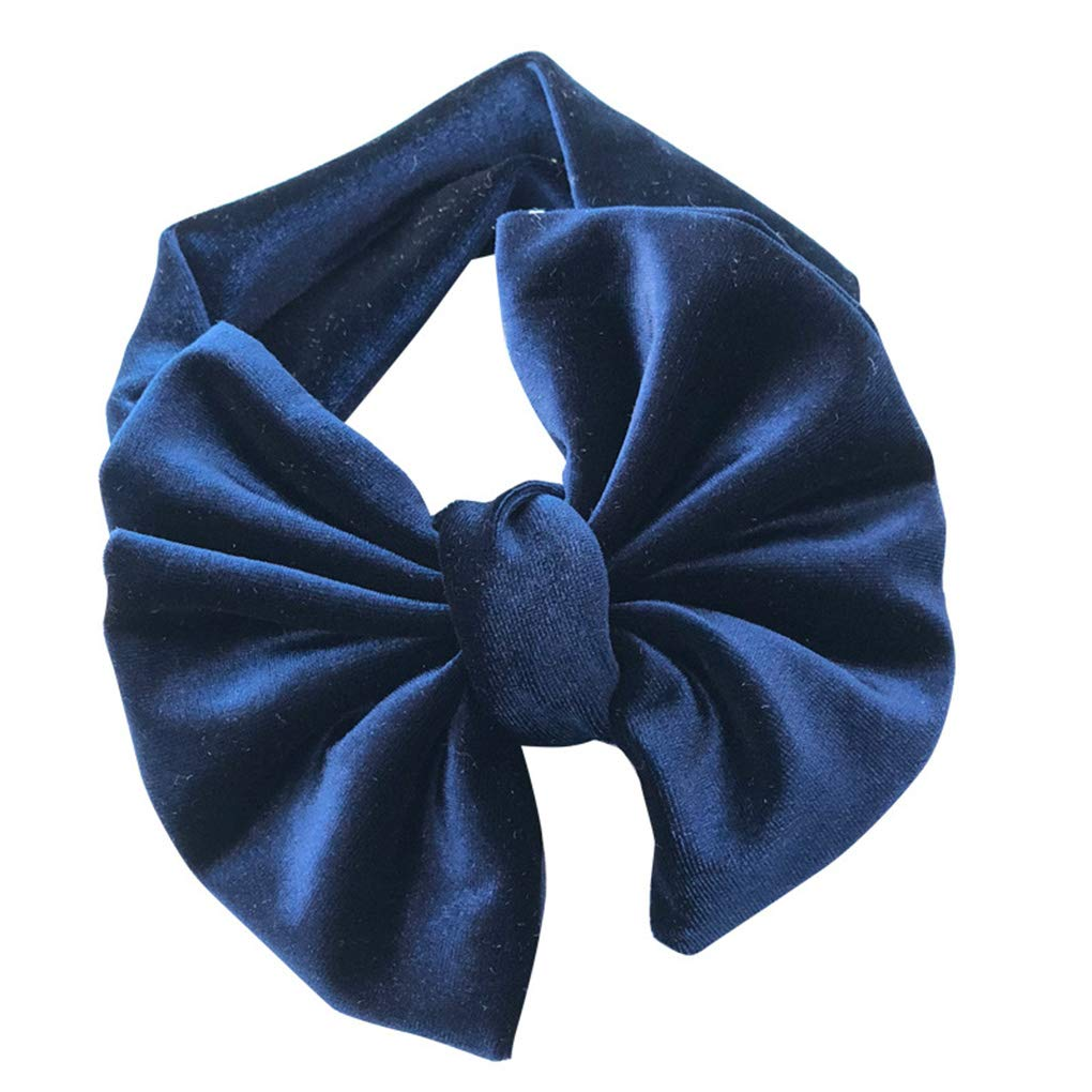 Infant geknotete Stirnband Velvet Bowknot elastisches Hairband Pure Color Baby-Kopf-Verpackungs-Kopfbedeckung Haarschleife