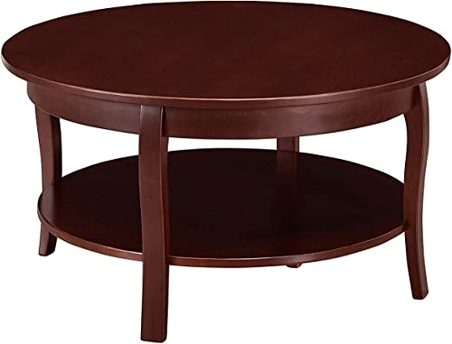 MUSEHOMEINC Hawaii Round Wooden Coffee Table with Shelf Storage for Living Room Curved Leg Design, Espresso Finish