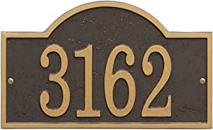 """Whitehall Personalized Cast Metal Address Plaque - Custom House Number Sign - Arched Rectangle (12"""" x 7.25"""") - Bronze with Gold Numbers"""