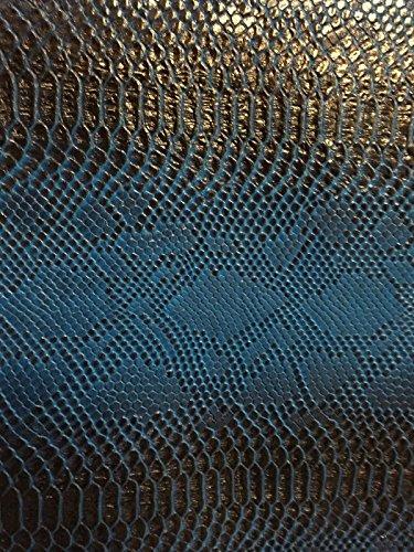 Blue Black Two Tone Faux Viper Sopythana Snake Skin Vinyl Fabric - BTY - 52