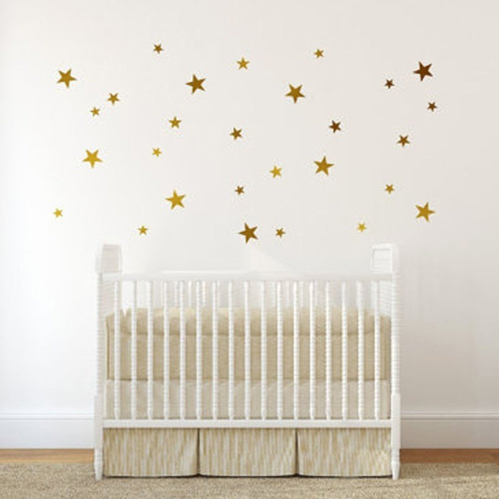 Bluelans® 39pcs Stars Wall Sticker Star Nursery Children Room Wall Art Sticker Decal (Gold)