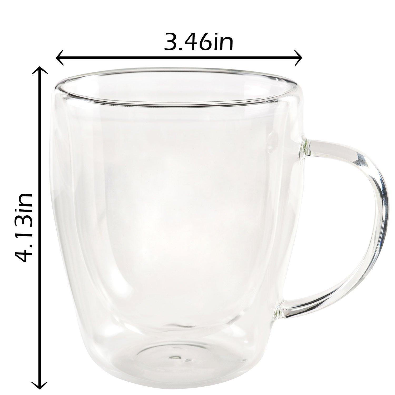 Jecobi Indulge, Set Of 2 Mugs, Strong Double Walled Insulated drinking glasses with handle, 10 oz Glass Coffee Cups Dishwasher. Microwave, freezer with NO RISK. by JECOBI (Image #5)