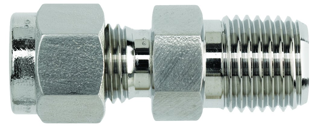 Brennan Industries N2404-04-06-SS Stainless Steel Straight Double-Ferrule Tube Fitting 3//8 NPT Male Thread 1//4 Tube x 1//4 Male NPT