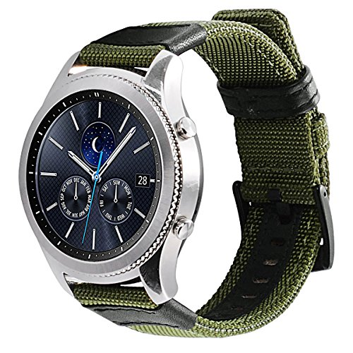 Gear S3 Bands Nylon, Maxjoy S3 Frontier Classic Band 22 mm Woven Nylon Replacement Strap Large Sport Wristband Bracelet with Stainless Steel Metal Buckle for Samsung Gear S3 Smart Watch, Army Green by Maxjoy (Image #8)