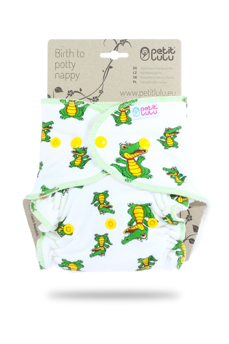 Petit Lulu Bamboo Fitted One Size Diaper Made in Europe Animals on Trip Reusable /& Washable Snaps