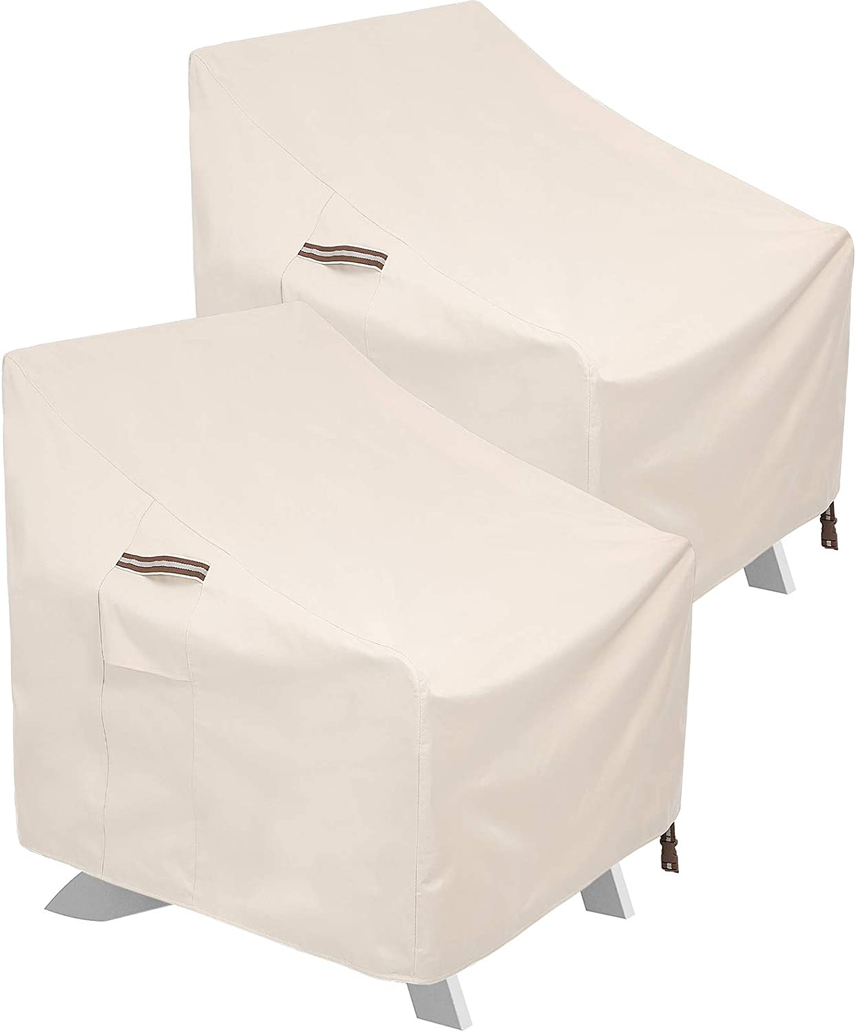 SONGMICS Patio Adirondack Chair Covers, Set of 2, Heavy Duty Patio Chair Covers, 600D Waterproof Protective Covers, for Outdoor Garden Deep Seat Chair, 31.9 x 33.9 x 35.8/19.3 Inches, Beige UGCC007M02