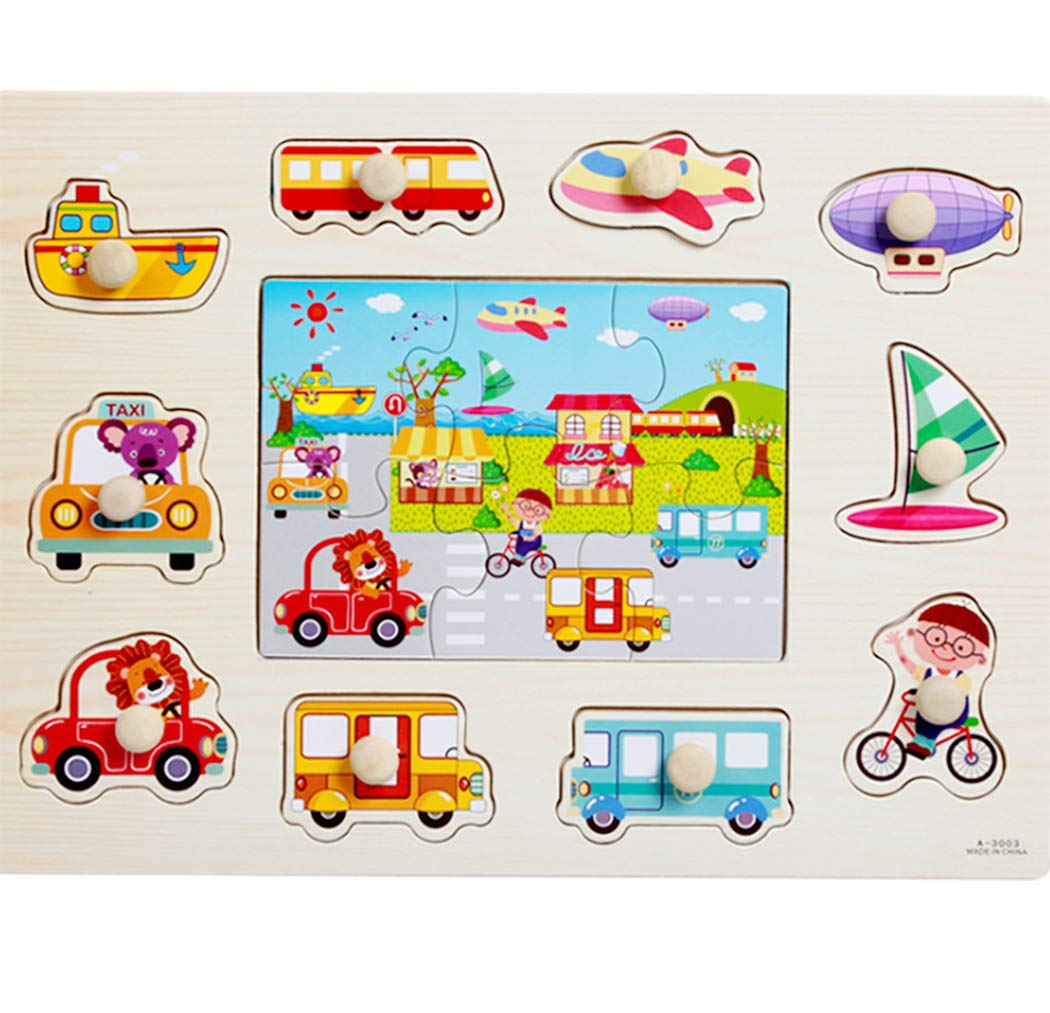 Transportation Learning Preschool Early Education Toys and Games for Kids Children Wooden Jigsaw Pegged Puzzle Set of 2 Hillento Wooden Pegged Puzzles